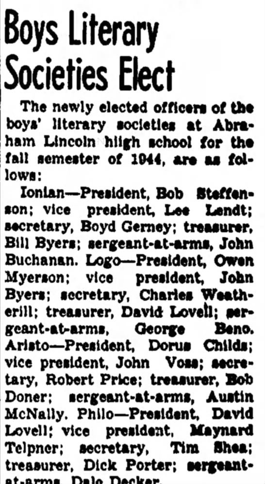 Boys Literary Societies Elect - Council Bluffs Nonpareil - 27 May 1944, page 3 - the of the try of the and Cuu-Boys Literary...