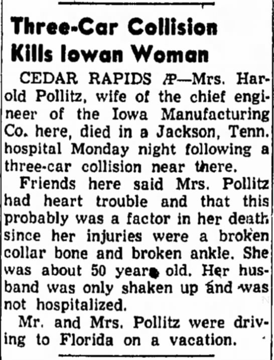 Sylvia Anna Latzer Pollitz -  Council Bluffs Nonpareil (Council Bluffs, IA) 02 Feb 1954 - to Cedar En- not Three-Car Collision Kills...