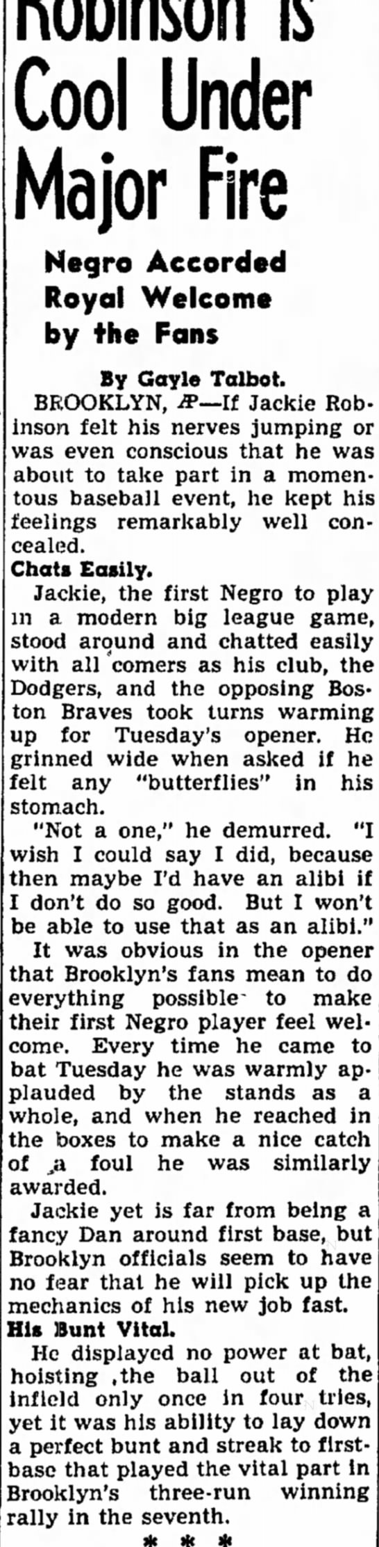 Jackie Robinson - George inning o Cool Under Major Fire Negro...