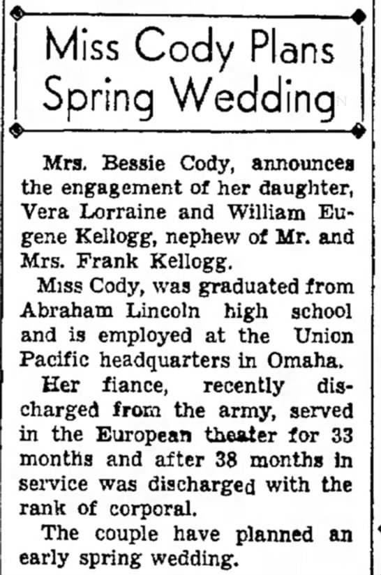 - Miss Cody Plans Spring Wedding Mra. Bessie...