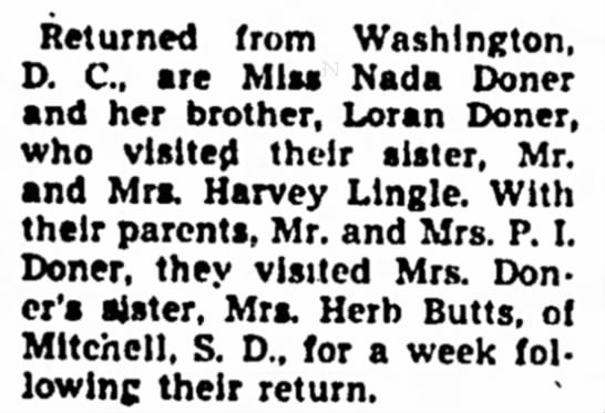 Nada and Loran return from Washington, D.C. - Council Bluffs Nonpareil - 20 Aug 1947, page 7 - in Returned from Washington, D. C., are Miss...
