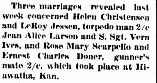 Three Marriages at Hiawatha, Kansas - Council Bluffs Nonpareil - 15 Oct 1944, page 8