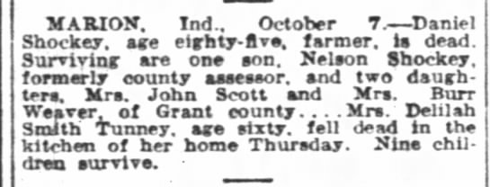 Daniel Shockey 85 The Indianapolis News  (Indianapolis, Indiana) 7 Oct 1927, Fri • Page 19