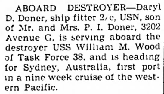 Aboard Destroyer - Council Bluffs Nonpareil - 31 Jan 1948, page 8 - ABOARD DESTROYER--Daryl i D. Donor, ship fitter...