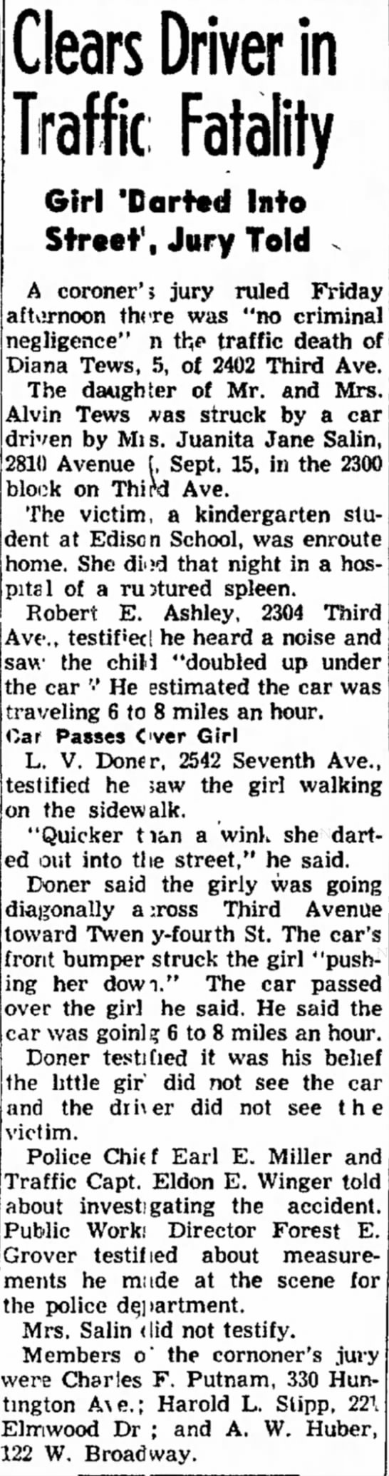 Clears Driver in Traffic Fatality - Council Bluffs Nonpareil - 26 Sep 1953, page 16