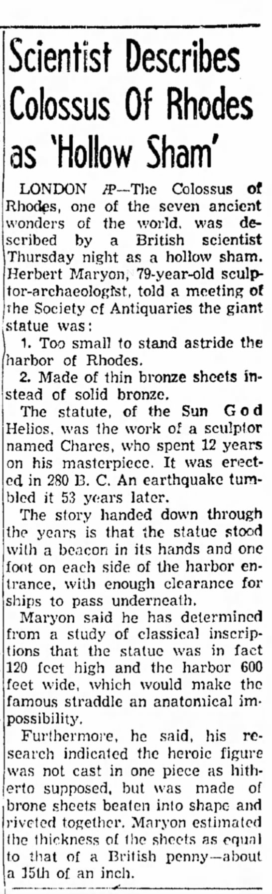 Herbert Maryon on the Colossus of Rhodes, Council Bluffs Nonpareil, 5 December 1953 - injured area let- cash total than office Mr....