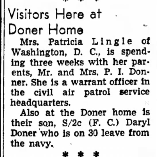 Visitors Here at Doner Home - Council Bluffs Nonpareil - 6 Jul 1948, page 10 - Visitors Here at Doner Home Mrs. Patricia L l n...