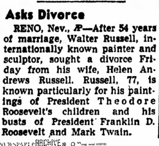 Council Bluffs Nonpareil (Council Bluffs, Iowa) 10 July 1948  Page 2 - Asks Divorce RENO, Nev., *--After 54 of...