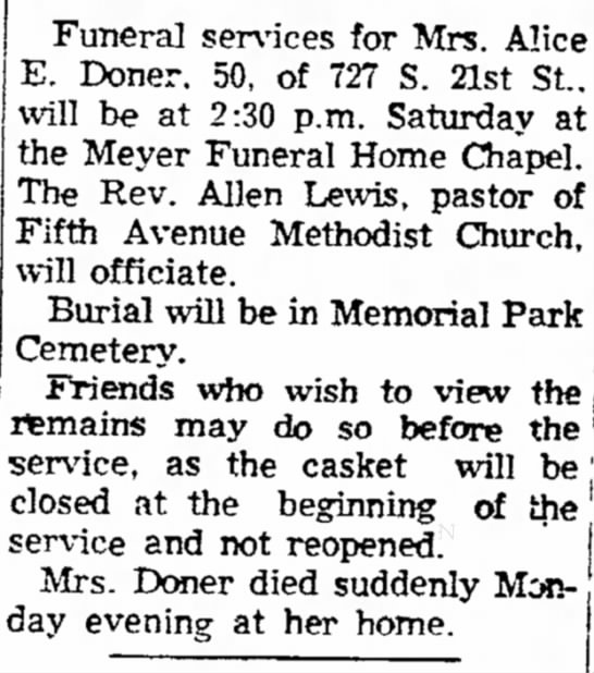 Funeral Notices - Council Bluffs Nonpareil - 21 Jun 1956, page 14 - 70. Lob Norbert, 4 Funeral services for Mrs. E....