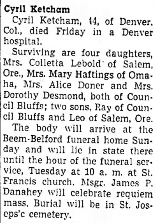 Cyril Ketcham obituary - Council Bluffs Nonpareil - 19 Dec 1948, page 9