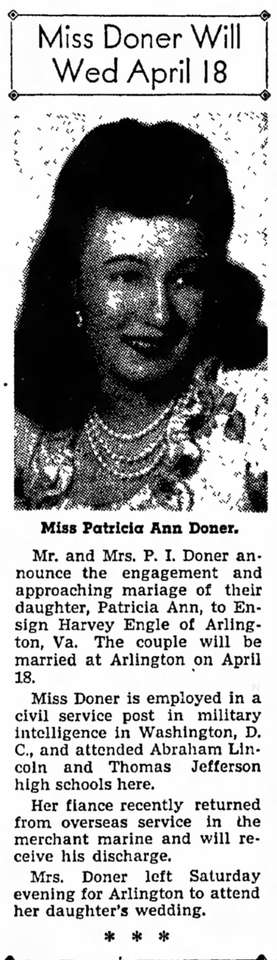 Miss Doner Will Wed April 18 - Council Bluffs Nonpareil - 14 Apr 1946, page 16 - R. a home B. Miss Doner Will Wed April 18 Miss...