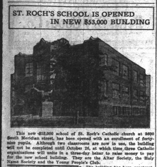 St. Roch - ST. ROCH'S SCHOOL IS OPENED , ( : IN NEW 53,000...