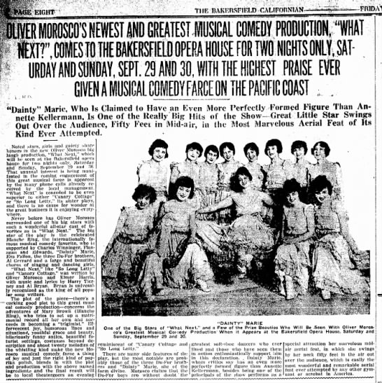 "Dainty Marie 1917 - GIVEN A MUSICAL COMEDY FARCE ON THE PA Dainty""..."