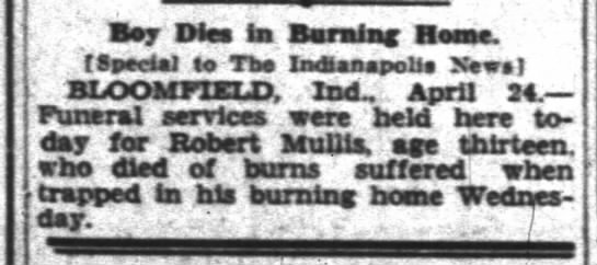 Robert H Mullis obituary - Boy Dies fas Darning Home, t Special to Tbe...