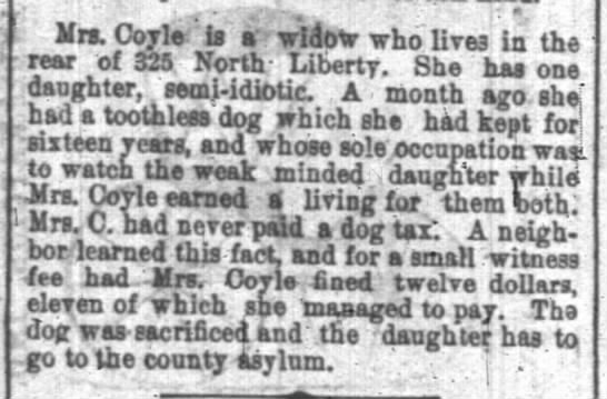 """Indianapolis News 26 Aug 1879 - - .1 - i"""". . Mrs. Coyle Is a widow who live3 In..."""