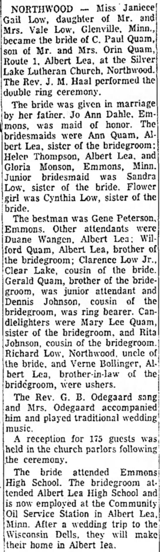 Quam-Low wedding - NORTHWOOD — Miss Janicce Gail Low, daughter of...