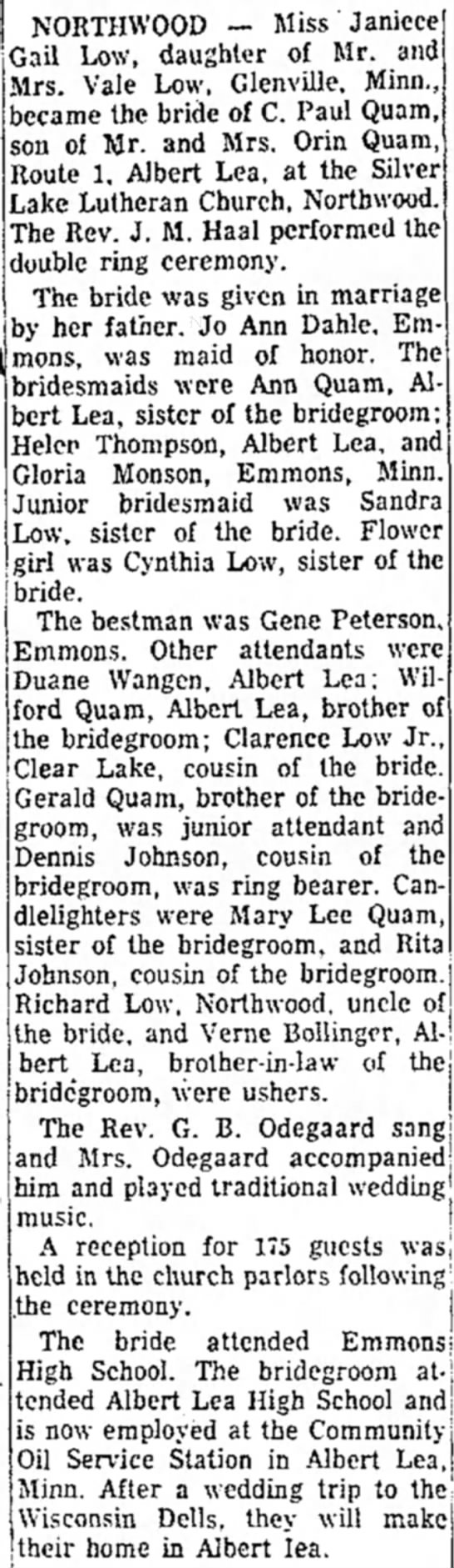 Quam-Low wedding