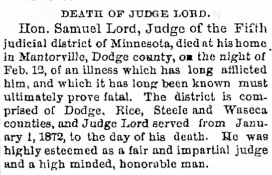 Lord, Samuel, Hon. death