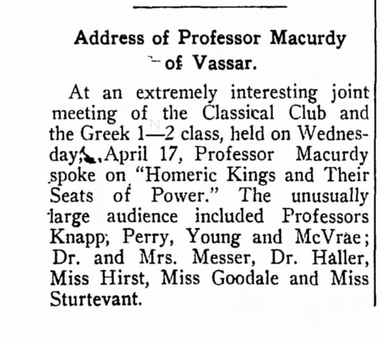 """GHM lecture Barnard - Address of Professor Macurdy """"~of Vassar. At an..."""