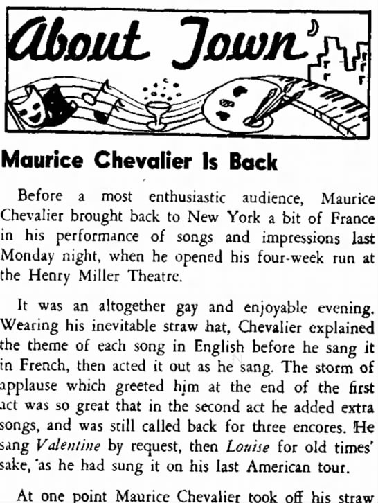 CHEV-OCT-11-A - the was Maurice Chevalier Is Back Before a most...