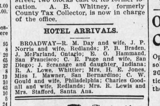 J Scranage and daughter from Indiana arrive at LA hotel.  June 2, 1898 - 95 8 20 65 37 8 19 10 63 10 5 24 location. A....