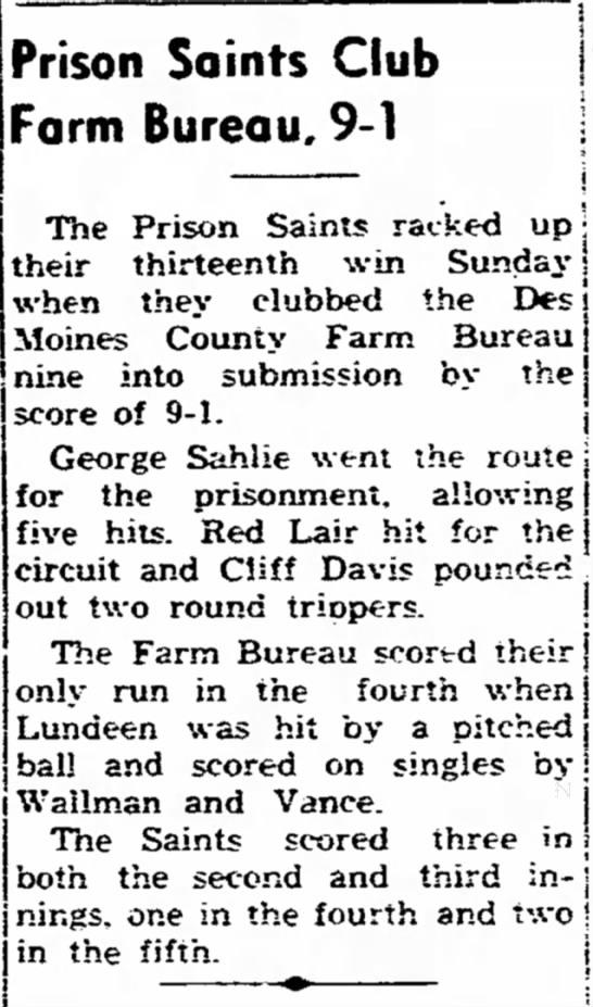Ft Madison Evening Democrat Pg 3 IA 08-25-1952 - off a a the to move ; Prison Saints Club Farm...