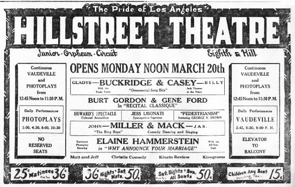Hillstreet theatre opening