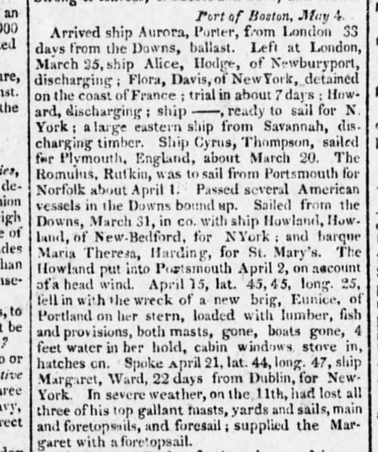 7 may 1812 the evening post