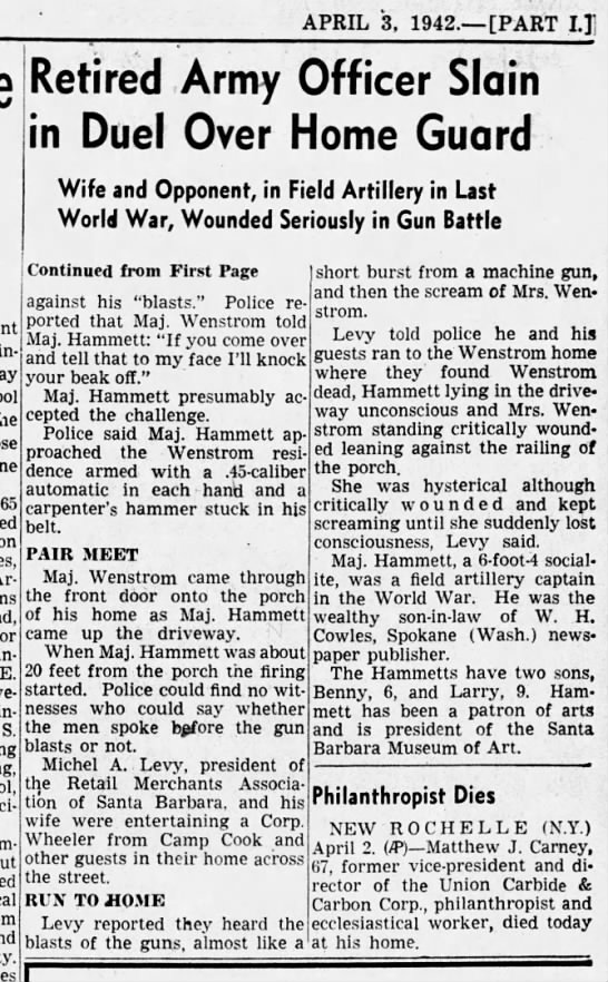 Retired Army Officer Slain Los Angeles Times (part two, p. 10) 3 Apr 1942 - APRIL 3, 1942. PART 1.1 65 on E. S. Retired...