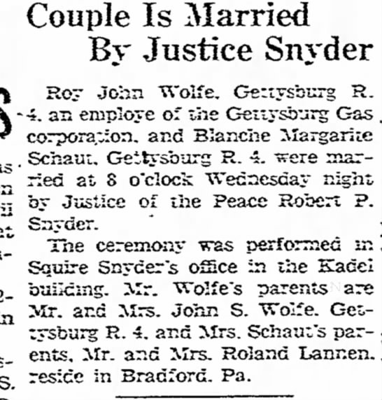 Gettysburg Times 30 Oct 1947 - as Couple Is Married By Justice Snyder Roy John...