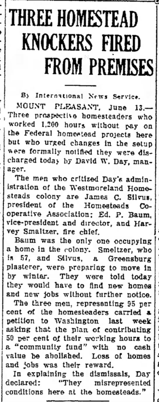 Daily Courier 13 June 1935 Three homesteaders evicted