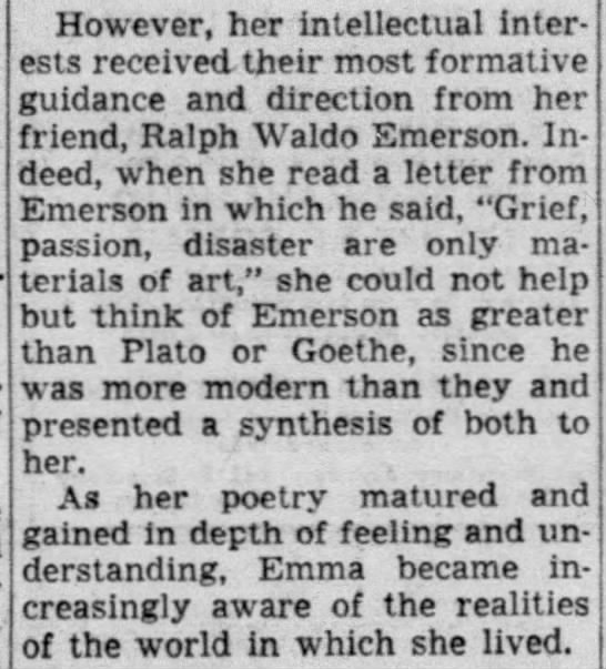 Friend of Ralph Waldo Emerson, influenced by the realities of the world - However, her intellectual interests received...
