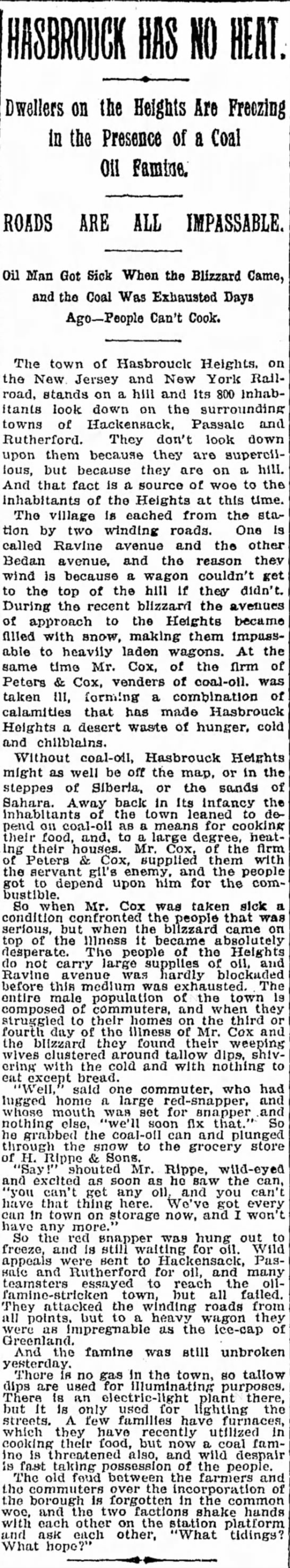 Feb 17, 1895 - Dwellers on {be Heights Are Freezing in tbe...