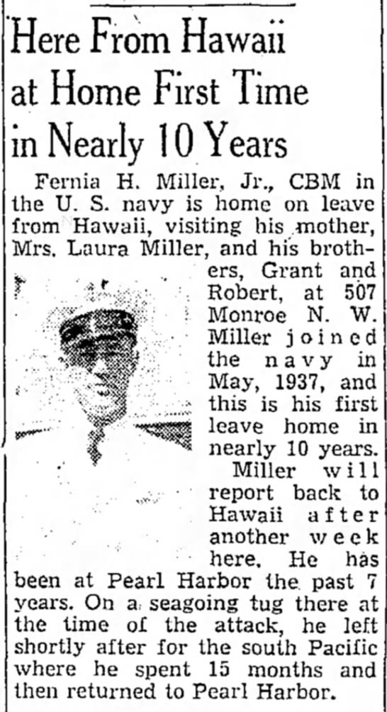 Home on Leave Jan. 8 1947 - Here From Hawaii at Home First Time in Nearly...