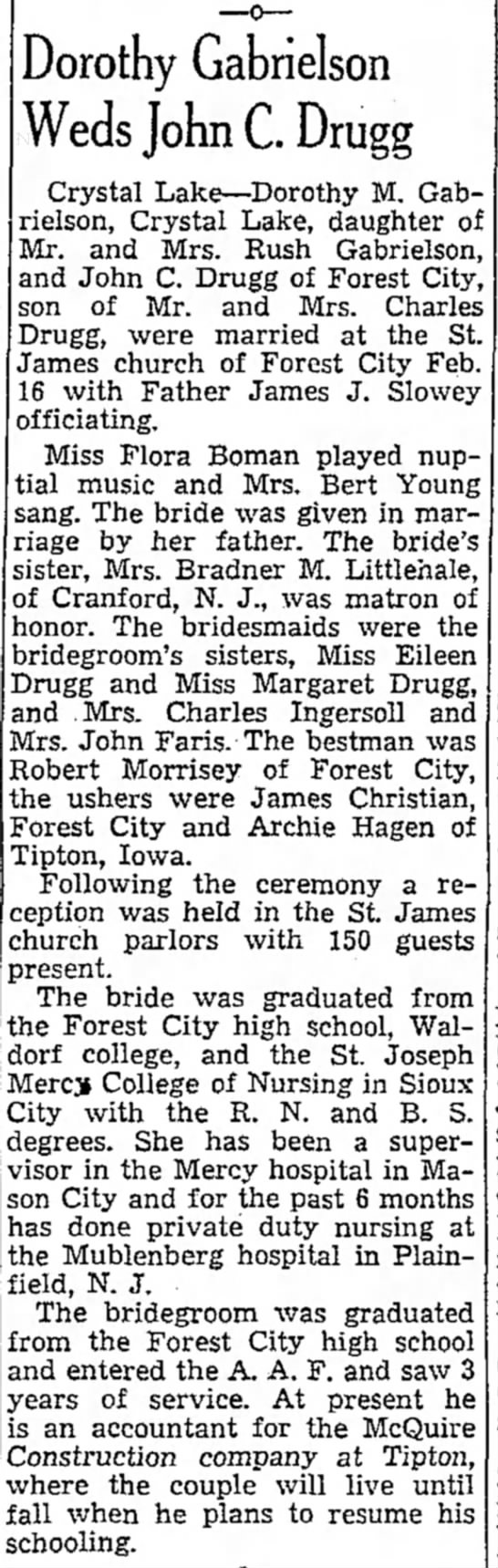 John and Dottie Wedding  - a Maon R 01 be- E. on Of Dorothy Gabrielson...