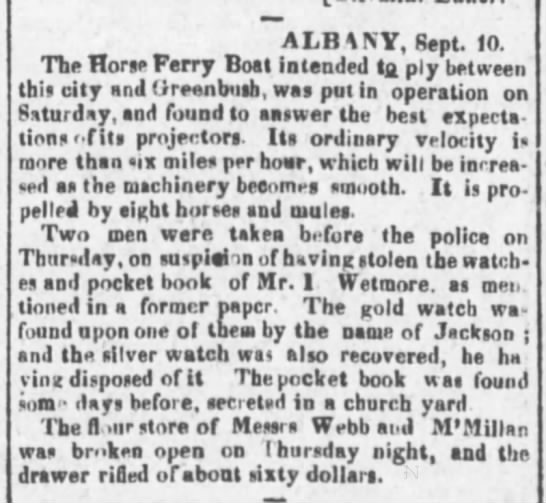 - ALBANY, Sept. 10. The Horse Ferry Boat intended...