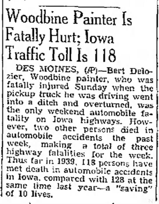 Bert DeLozier Fatal Accident - Kuy- at ol ex- at Woodbine Painter Is Fatally...