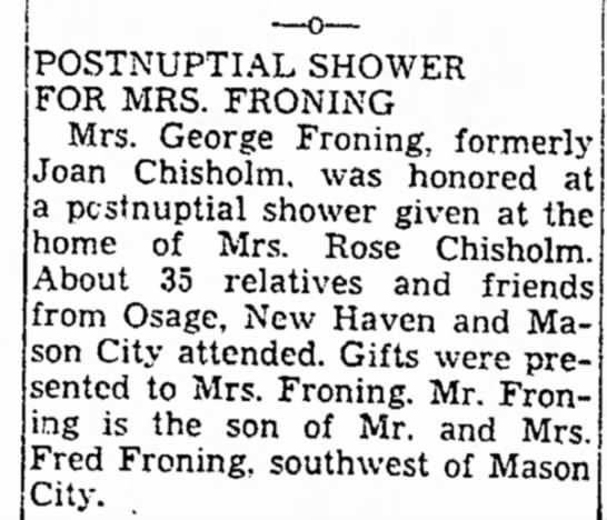 - POSTNUPTIAL SHOWER FOR MRS. FRONING Mrs. George...