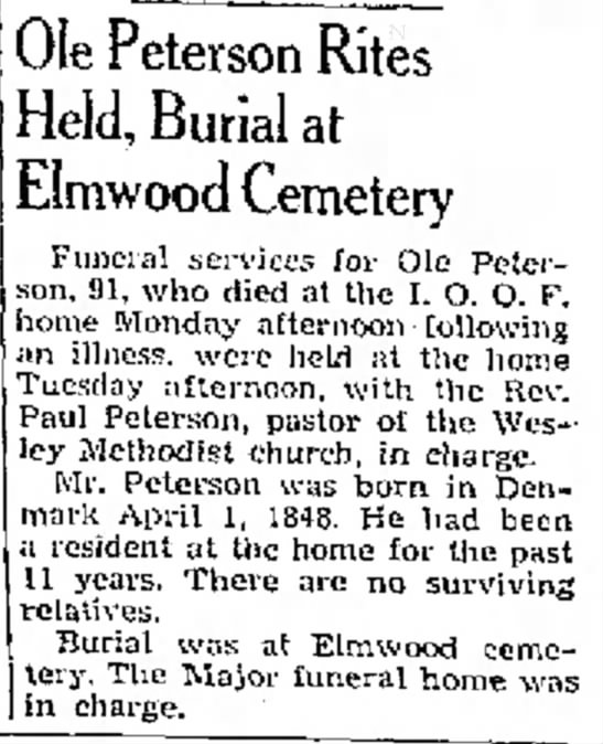 Ole C Peterson 3/12/1940 - the arrested Ole Peterson Rites Held, Burial at...