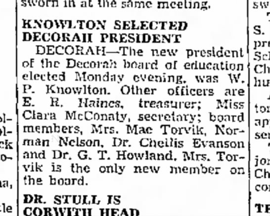 TORVIK - sworn in at the same meeting. KNOWLTON SELECTED...