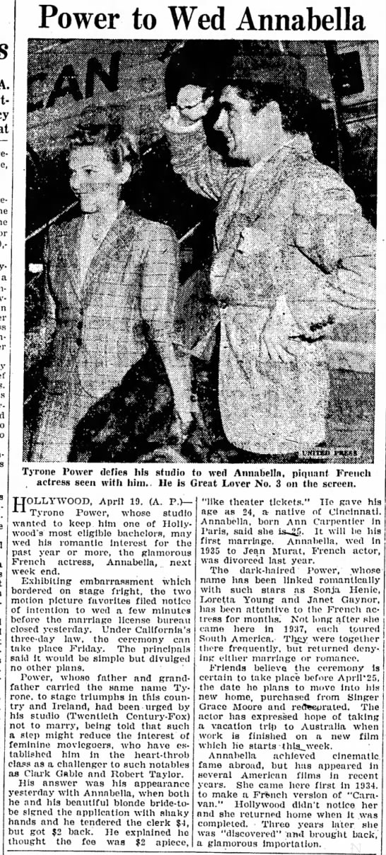 ANNABELLA-6 - i -*Power to Wed Annabella Tyrone Power defies...