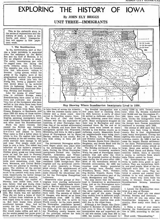Norwegians in Iowa - MASON CITY EXPLORING THE HISTORY OF IOWA By...