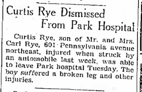 Rye, Curtis hit by car - Curtis Rye Dismissed From Park Hospital Curtis...