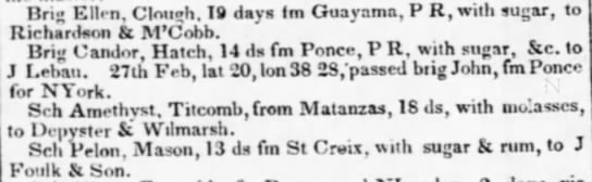 Guayama trade March 1836 - Brig Ellen. Clon - h. 19 days Im Guayama, P K,...
