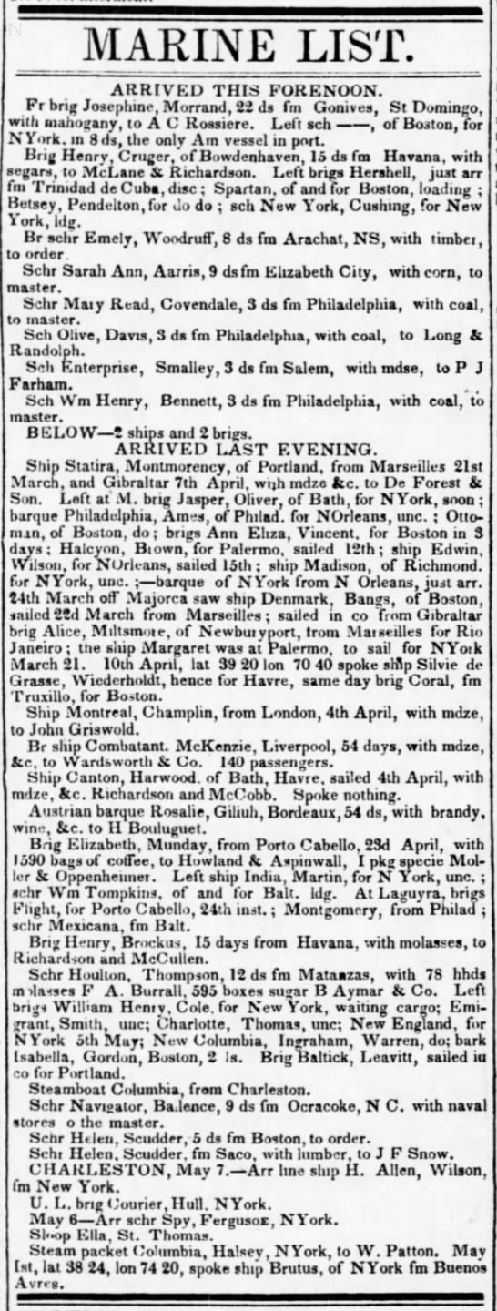 The Evening Post, NY, NY 14 May 1836 - MARINE LIST. ARRIVED THIS FORENOON. Fr brig...