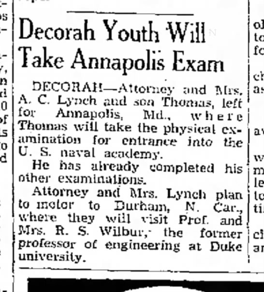 LYNCH - troops steam- 40 of W. Decorah Youth Will Take...