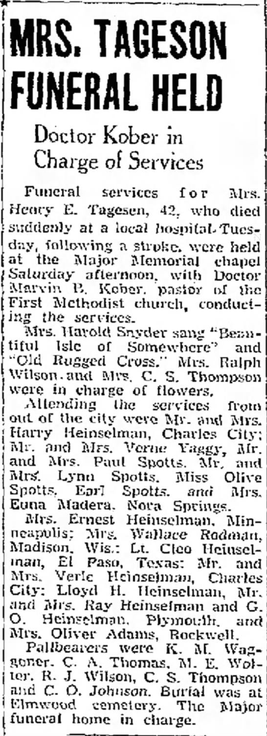 The Mason City Globe-Gazette (Mason City, Iowa)              23 November 1943 - at-t' ' of Senneff MRS. TAGESON FUNERAL HELD...