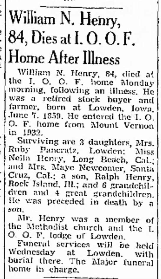Henry, William N Obituary6 Dec 1943, Mason City Globe-Gazette, Mason City, Iowa - in doing, Marshall William N. Henry, 84, Dies...