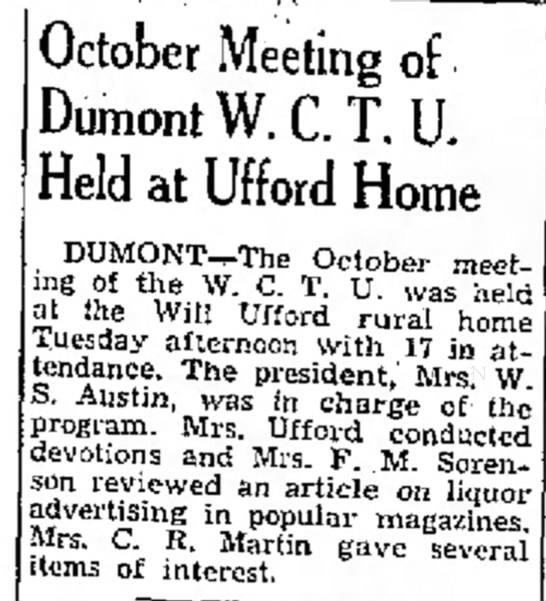 Sadie (Wolcott) Ufford hosts WCTU meeting - October Meeting of DumontW.C.T. U. Held at...