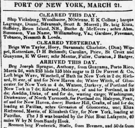 Guayama trade March1837 - PORT OF NEW YORK, MARCH 21. CLEARED THIS DAY....